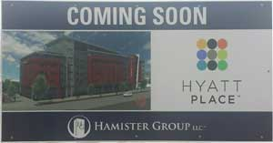 "All that sits at the site years after Hamister was approved for his hotel is a sign saying ""coming soon""."