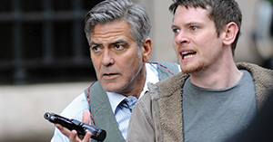 """George Clooney and his grandson... No, wait, that's actor Jack O'Connell in the forgettable """"Money Monster,"""" now showing at a theater near you."""