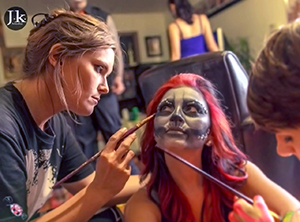 Jessica body painting at a ArmCandy event