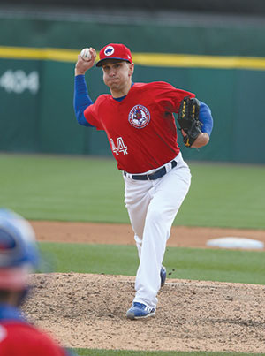A true switch pitcher: Pat Venditte pitches with his right hand.  Photo courtesy Buffalo Bisons.