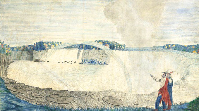 "The British government banned the export of this small watercolor, ""An East View of the Great Cataract of Niagara,"" by an anonymous North American buyer who won it at a Christie's London auction. Painted in 1767 by Capt. Thomas Davies, it was deemed an essential part of Britain's cultural heritage."