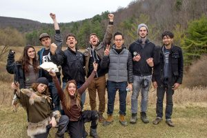 From left: Unknown, Brenden Gregory, Jared Biunno, Me, Oliver Lau, Nick Maciarz, Talha Amir. Bottom: Logan Everson and Katie Hibbard - Celebrating wrapping principal photography of Project Nomadic at the Binghamton University Nature Preserve. April 2016.