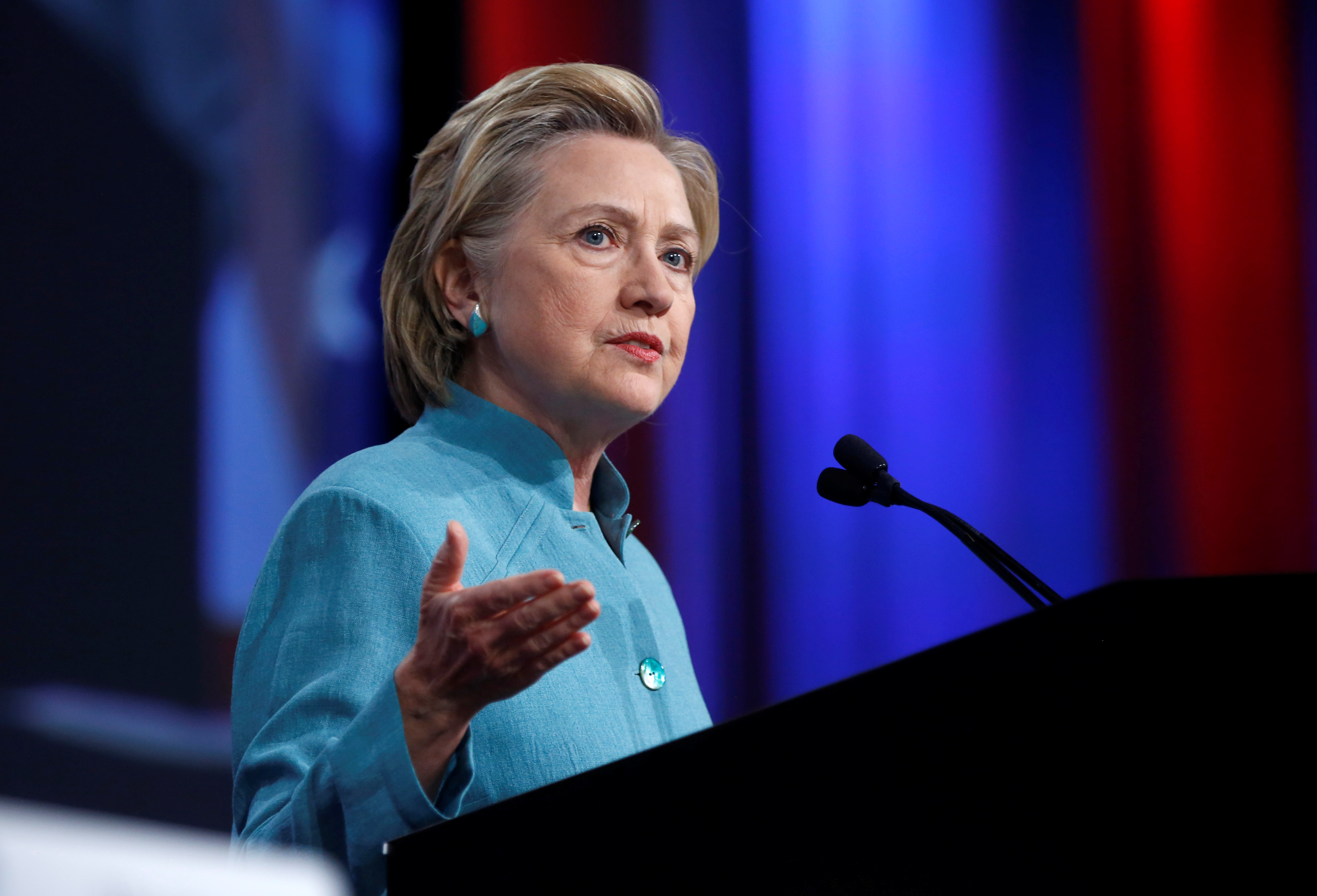 Democratic U.S. presidential candidate Hillary Clinton speaks at the U.S. Conference of Mayors 84th Annual Meeting in Indianapolis, Indiana United States, June 26, 2016. REUTERS/Chris Bergin - RTX2ICSM